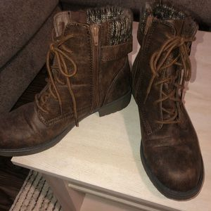 Faux leather combat/fall boots